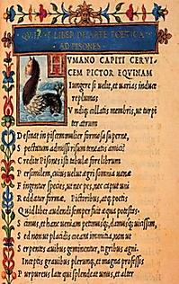 Raccolta completa di Orazio (in 8°). Aldo Manuzio, Venezia 1501. Firenze, Biblioteca Medicea Laurenziana D'Elci 516 c. K.